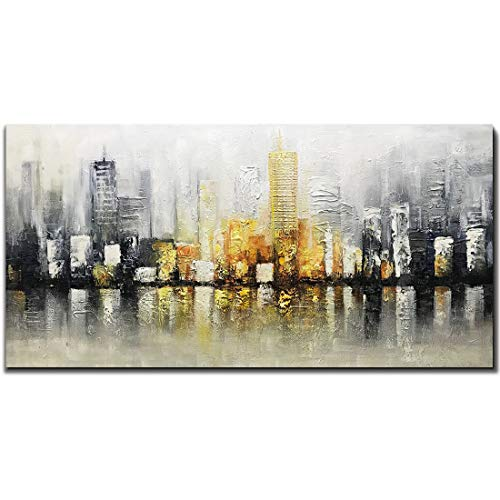 Fasdi-ART Oil Painting Cityscape 3D Hand-Painted On Canvas Abstract Artwork Art Wood Inside Framed Hanging Palette Knife Painting Wall Decoration Abstract Painting (DF019, 24x48inch)