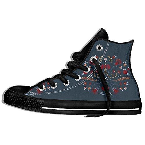 Sugar Skull BLUE High Top Classic Canvas Shoes Fashion Sneaker Black wINKZCVAe