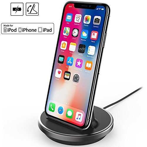 iPhone/iPad/iPod Desktop Charging Dock, iKNOWTECH [Apple MFi Certified] Lightning 8Pin Charger Cradle & Data Sync Cable Stand Charge Holder for iPhone X 8 7 6S 6 Plus SE 5S 5C 5 / iPad Mini /iPod