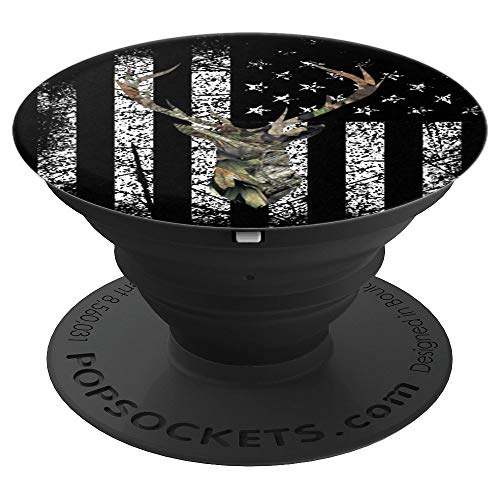 Deer Buck Hunting USA Flag Brown Camouflage Black - PopSockets Grip and Stand for Phones and Tablets