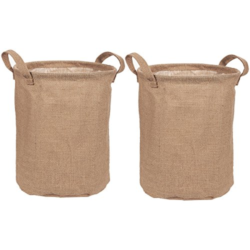 Collapsible Storage Bin - Set of 2 Linen Fabric Storage Containers - Burlap Basket with Handles for Dirty Laundry, Home Organization, Household Item Organizer, Bedroom - Brown, 9 x 9 x 11.5 Inches -