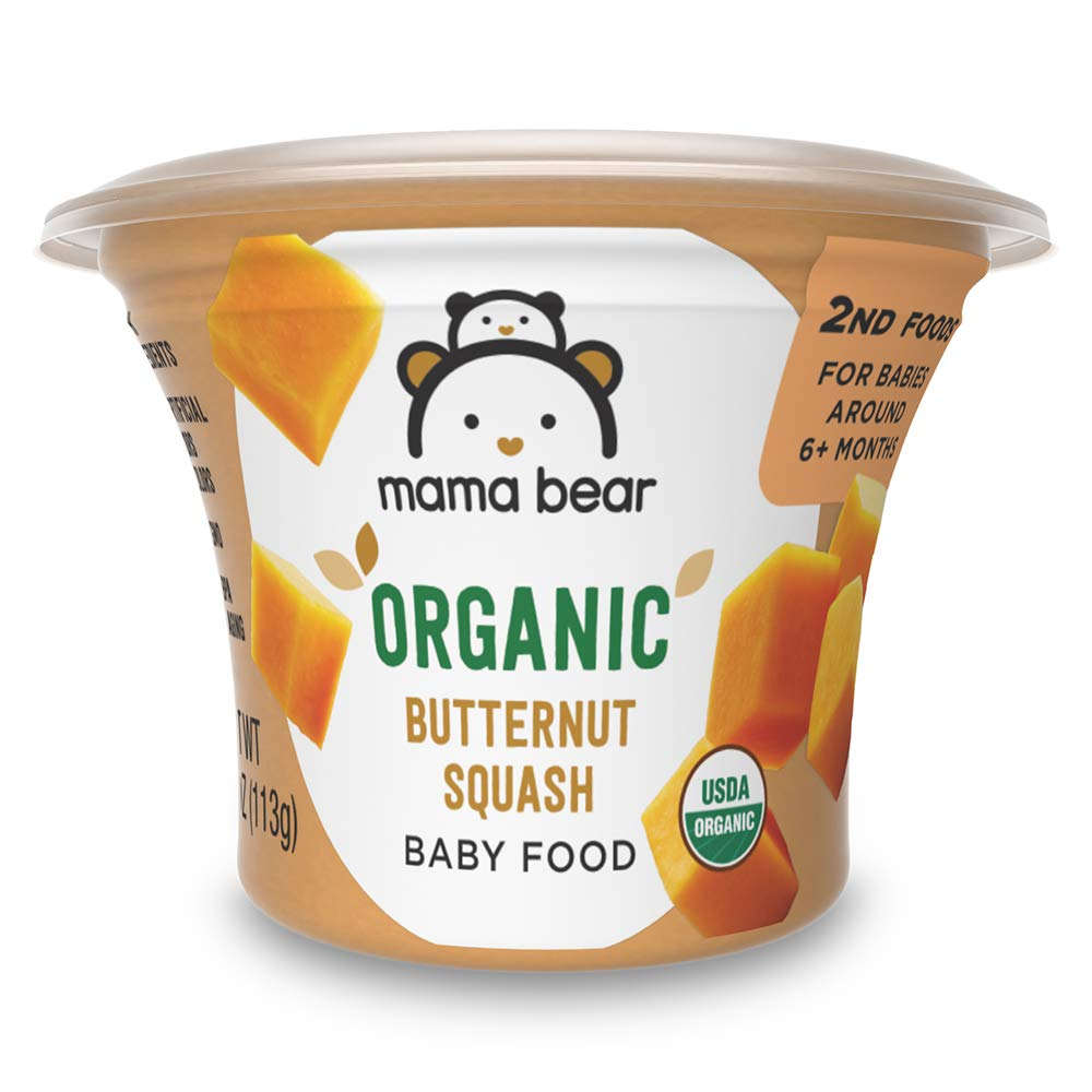Amazon Brand - Mama Bear Organic Baby Food, Butternut Squash, 4 Ounce Tub, Pack of 12