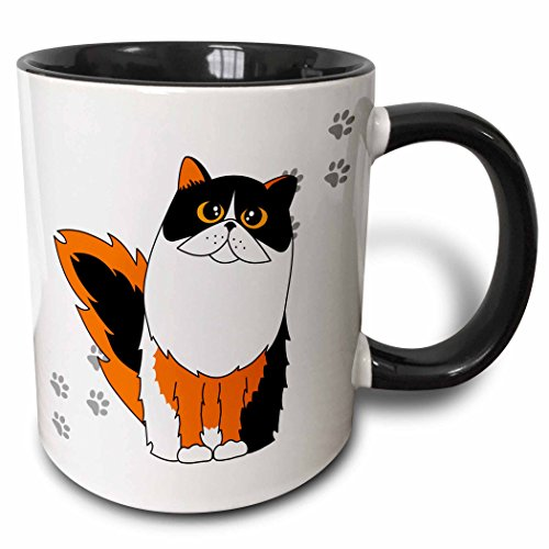 3dRose 6110_4 Calico Long-Haired/Persian Cat White Paw-Print - Two Tone Black Mug, 11 oz, Multicolored Art Com Persian Print