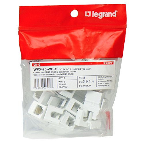 Legrand - On-Q WP3473WH10 Contractor Quick Connect RJ25 6-Position 6-Conductor Telephone Keystone Insert, 10 Pack, White