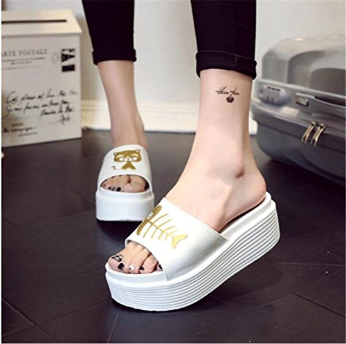 Womens Fish Cat Pattern Platform High Heel Sandals Simple Sippers White 83mHP