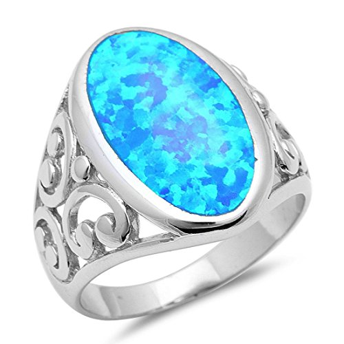 Solitaire Oval Lab Created Blue Opal Filigree Swirl Men Women Ring Solid 925 Sterling Silver