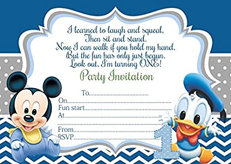 Baby Mickey Mouse Boys Birthday Party Invitations 10 Personalised Blue Invites