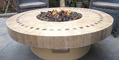 Outdoor Gas Propane Fire Pit w/ Marble Mosaic Top Patio Heater