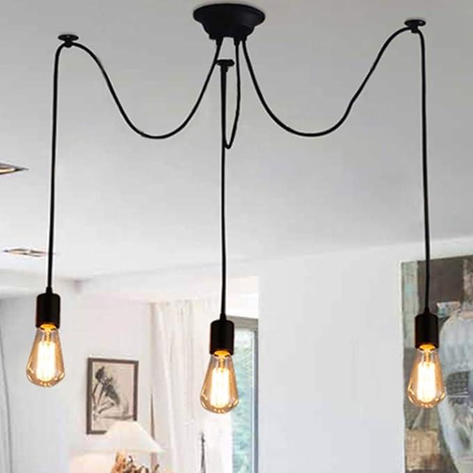 Rétro industrielle Lustre Suspension 3 x E27 Lampes classique vintage Edison lamps réglable DIY araignée au plafond Lampes Lampes de Plafond Corde à