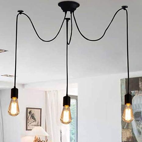 Retro Industrial Chandelier Pendant Lights 3x E27 Lamps Vintage Classic Edison Lamps Adjustable Diy Ceiling Spider Lamps Ceiling Lights No Bulbs