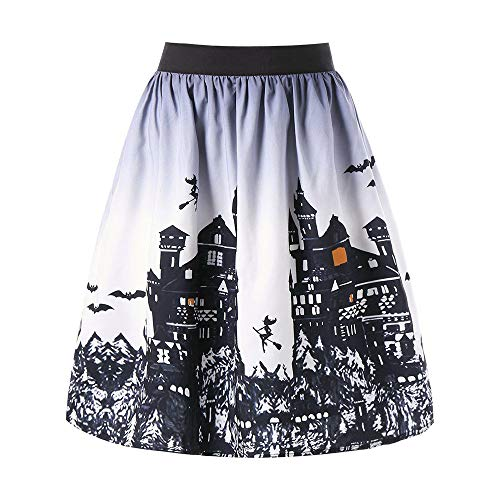 Clearance Sale! Toimoth Women's Sexy Halloween Day Ombre Castle Printed Swing Performance A-Line Skirt(Gray, S)