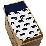 Sweet Jojo Designs Navy Blue and White Changing Pad Cover for Big Bear Collection by