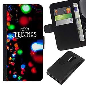 KLONGSHOP // Tirón de la caja Cartera de cuero con ranuras para tarjetas - Luces de Navidad Negro Invierno de Navidad - LG G2 D800 //
