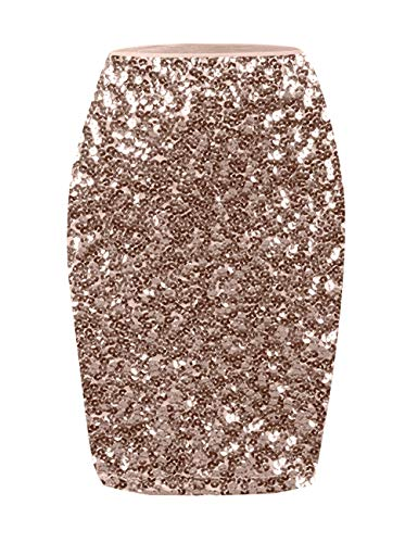 Ladies Bodycon Dresses Plus Size High Waisted Classic Long Skirt Champagne M
