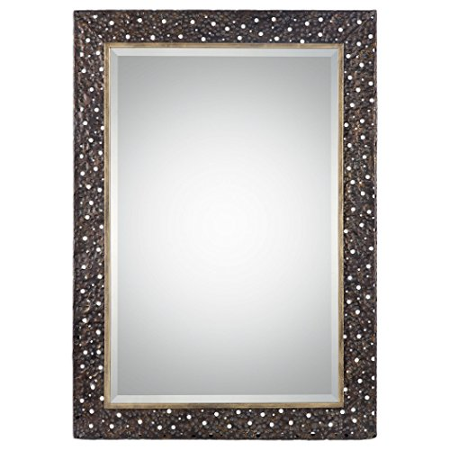 Pierced Dark Bronze Hammered Wall Mirror | 42