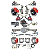 """NEW SUSPENSION & BRAKE SET WITH CURRIE REAR END, AXLES, POSI-TRAC GEAR, DROP SPINDLES, WILWOOD 13""""/12"""" DISC BRAKES, RED CALIPERS, CYLINDER, BOOSTER, ARMS 59-64 CHEVY IMPALA BEL AIR BISCAYNE BROOKWOOD"""