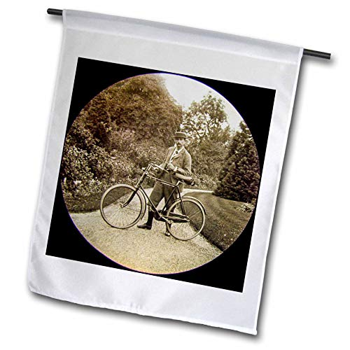 3dRose Scenes from The Past - Magic Lantern - Vintage Edwardian English Gentleman with Bicycle and Pipe Circa 1910-12 x 18 inch Garden Flag (fl_300288_1)