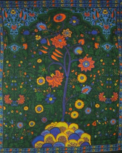 """UPC 736846805034, Tree of Life Tapestry Cotton Bedspread 108"""" x 88"""" Full-Queen Green"""