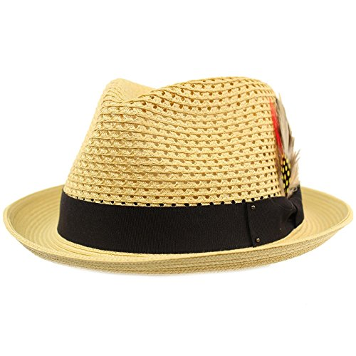 Men's Light Vented Removable Feather Derby Fedora Curled Brim Hat L/XL ()