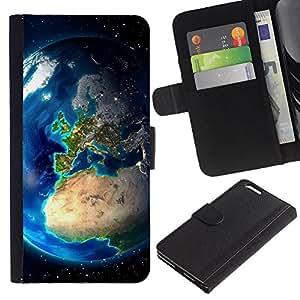 """Apple (5.5 inches!!!) iPhone 6+ Plus , la tarjeta de Crédito Slots PU Funda de cuero Monedero caso cubierta de piel ("""" Earth Europe View Continents Planet Space"""")"""