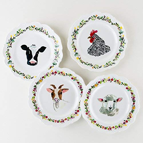 Farm Scalloped Melamine Plate Set (Animals Barnyard Dinnerware)