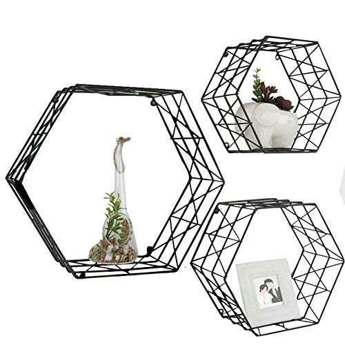 Wall Mounted Hexagon Floating Shelves - Metal Wire Hanging Shelf for Living Room Bedroom Décor Photos, Collectibles, Plants(Set of 3, Black)