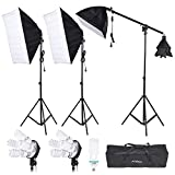 Andoer Photography Studio Lighting Softbox with 4in1 Bulbs Socket, 45W/135W Light Daylight Bulbs, 200cm Light Stand and Carry Case