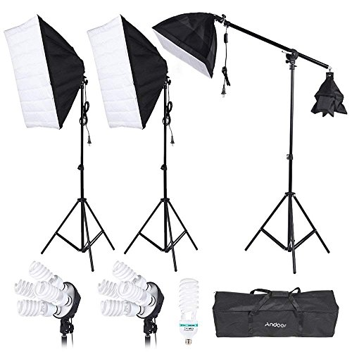 - Andoer Photography Studio Lighting Softbox with 4in1 bulbs socket, 45W/135W Light Daylight Bulbs, 200cm Light Stand and Carry Case