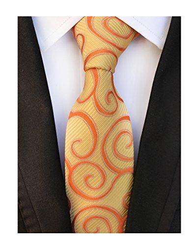 Men Classic Yellow Orange Silk Tie Event Formal Necktie for Ideal Christmas ()