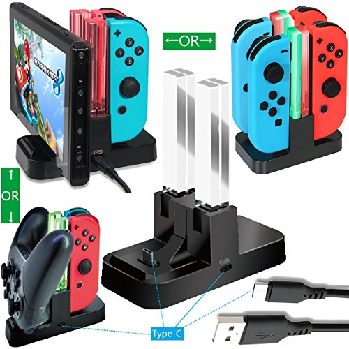 Whiteoak Switch Pro Controller Charger, Nintendo Switch Joy-Con Charging Dock Station Stand with LED Indication,[Upgraded Version] with Free Type C Cable