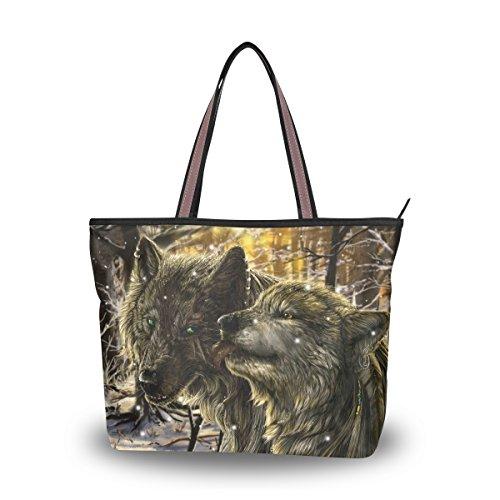 Ingbags Fashion Large Tote Shoulder Bag America Wolf Pattern Women Ladies Handbag