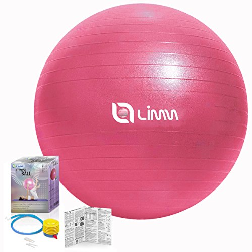 Limm Exercise Ball for Yoga, Pilates, Stretching and General Fitness - Includes Foot Pump, Starter Guide and Access to Exclusive Members Portal (65cm)