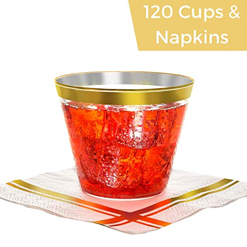 Gold Rimmed Plastic Cups & Cocktail Napkins 120 Each - Gold Plastic Cups & Elegant Gold Stripe Beverage Napkins, Disposable Wedding Cups with Gold Rim & Fancy Napkin, Bulk Size, ()