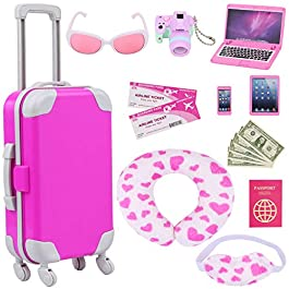 ZITA ELEMENT 16 Pcs American Doll Suitcase Luggage Travel Play Set for Girl 18 Inch Doll Travel Carrier Storage…