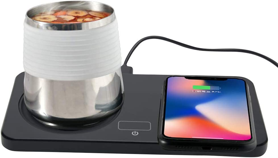 Mug Warmer Coffee Mug Warmer Beverage Warmers Cup Heater for Desk Coffee Warmer Thermostatic Mug Warmer And Phones Wireless Charger Safely Use for Office Home to Warm Tea Milk