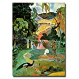 This ready to hang, gallery-wrapped art piece features an abstract landscape. Paul Gauguin was a leading Post-Impressionist painter. His bold experimentation with coloring led directly to the Synthetist style of modern art while his expression of the...