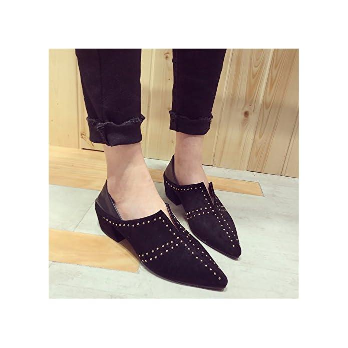 Sfsyddy New Europei E Americani Camoscio Rivettata Profondo A Punta Singola Scarpe Early Spring Fashion Street Snap Con Rough Heels