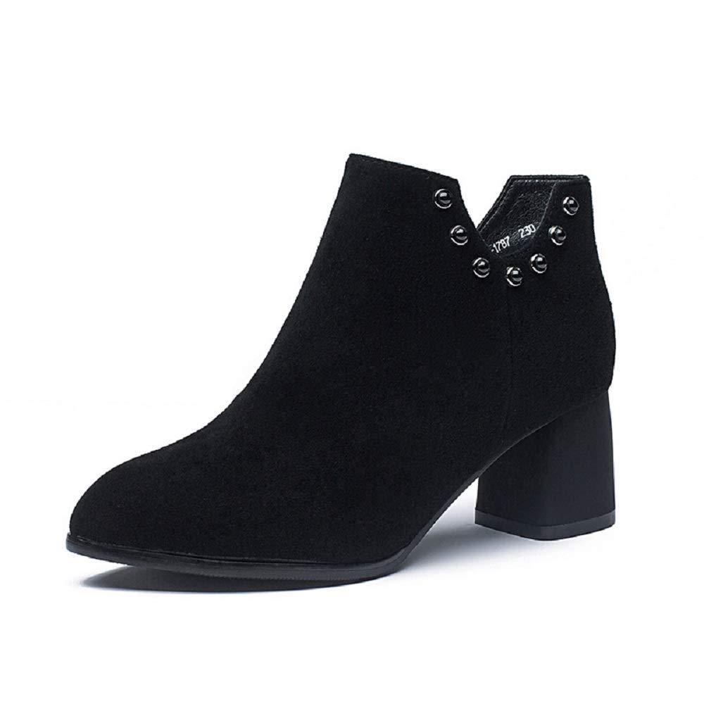Fuxitoggo Niet Stiefel Frauen Block Leder Knöchel Schwarze Schuhe (Farbe   Schwarz, Größe   EU 36)