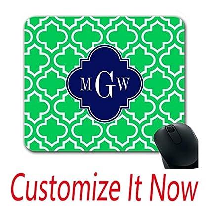 amazon com custom design fun mouse pads emerald white moroccan 6