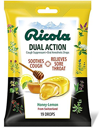 Ricola Dual Action Cough Suppressant & Oral Anesthetic Throat Drops, Honey Lemon, 24 Count