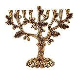 Zion Judaica Hanukkah Menorah Artistic Olive Tree