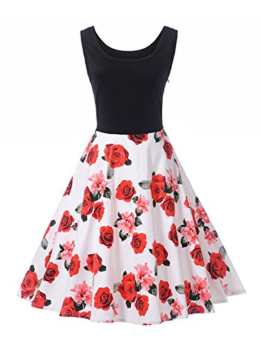 Floral your Leaves rose White record inspired Midi Painting Choies Dress CHOiES Oil White Party Skater Vintage 1950s fashion Women q08w8U5