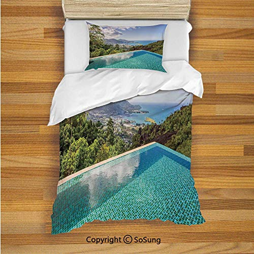 House Decor Kids Duvet Cover Set Twin Size, Panoramic View of Islands Seychelles from Crystal Clean Pool Relaxation Decorative 2 Piece Bedding Set with 1 Pillow Sham,