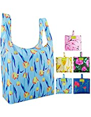 Reusable Grocery Bags Set, Grocery Tote Foldable into Attached Pouch, Ripstop Polyester Reusable Shopping Bags, Washable, Durable and Lightweight … …