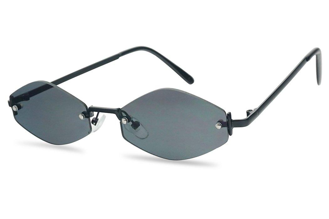 SunglassUP 90's Retro Vintage Small Tiny Narrow Rimless Oval Geometric Designer Color Tinted Sun Glasses (Black Frame | Black) by SunglassUP