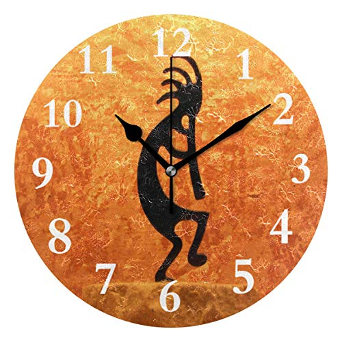 SHNUFHBD Kokopelli Statue Non Ticking Silent Rhombus Wall Clock Decorative, Battery Operated Analog Quiet Round Wall Clock, for Living Room, Kitchen, Bedroom ()