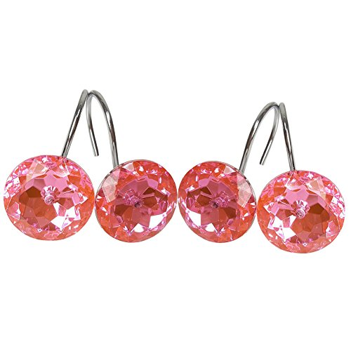 Chictie 12 Pieces Clear Hot Pink Round Crystal