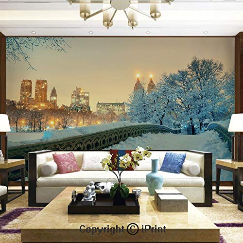 Lionpapa_mural Removable Wall Mural Ideal to Decorate Your Living Room,Central Park Winter Season with Skyscrapers and Snow Bow Bridge Manhattan New York,Home Decor - 66x96 inches