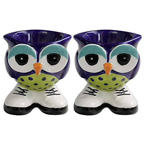 Grasslands Road Blue Hand Painted Stoneware Owl Egg Cup, Set of - Cup Egg Blue