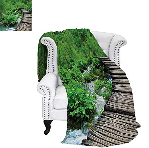 Weave Pattern Blanket Path and The Waterfall Board in Croatia Cascade Garden Lake Fence Peaceful View Custom Design Cozy Flannel Blanket 70